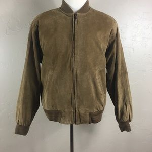 Roundtree And Yorks  Suede Brown Bomber Jacket M